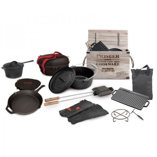 Campfire Cast Iron 11 Pce BBQ Camping Cooking Set