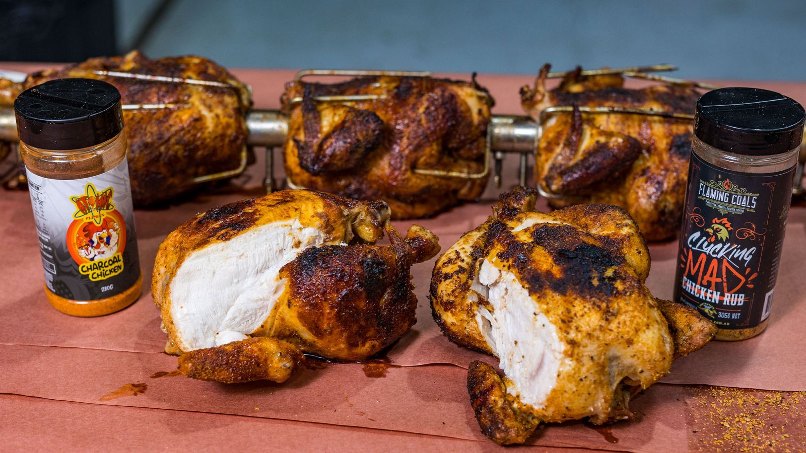 This image shows 5 whole chicken, charcoal chicken rub and flaming coals chicken rub