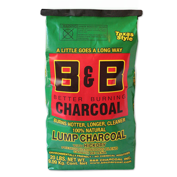B&B Charcoal Hickory Lump Charcoal 9kg