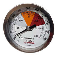 Recalibratable Flaming Coals BBQ Smoker Thermometer Gauge - Small