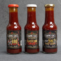 Flaming Coals BBQ Sauce 3 Pack Combo with Free Basting Brush