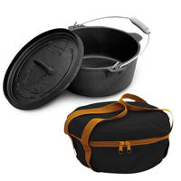 Campfire Camp Ovens and Bag Combo Pack - Pre Seasoned 4.5 Quart