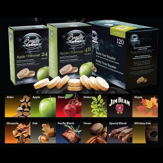 Bradley Smoker Bisquettes 120 Pack- Select packs from a variety of flavours