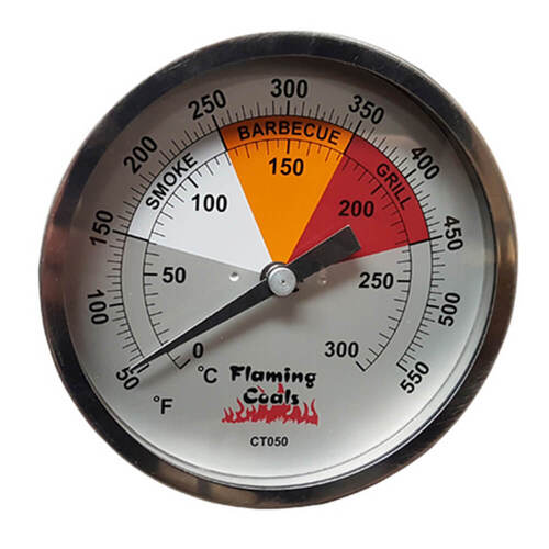 Flaming Coals BBQ Smoker Thermometer Gauge - Large