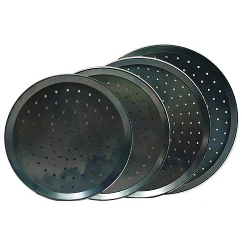 Flaming Coals Perforated Black Pizza Tray